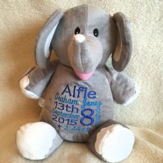 Personalised Soft Toy Animal Cubbie Elephant
